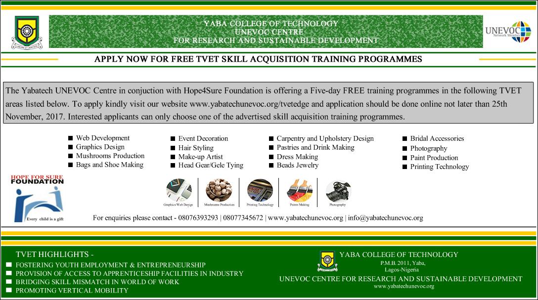 Free TVET Skill Acquisition Training Programmes